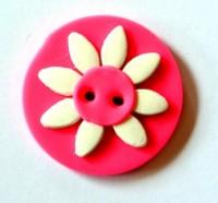 weiße Blume auf pinkfarbener Scheibe, Fimoknopf *SALE*