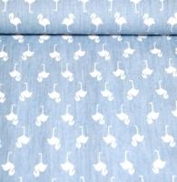 Hilco Sommerjeans Flamingos weiß auf hellblau