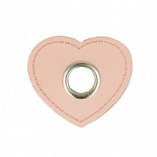 Kunstleder Ösenpatch, Herz 10 mm Ø, rosa