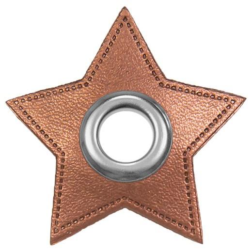 Kunstleder Ösenpatch, Stern 10 mm Ø, kupfer