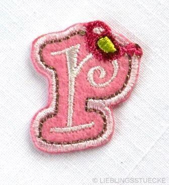 Applikation Buchstabe r, rosa