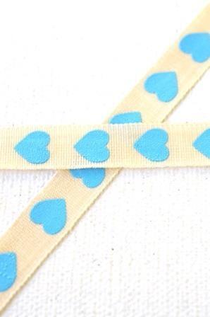 Herzen, blau, Stoffband