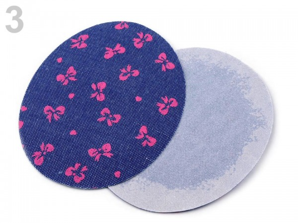 Bügelflicken, jeansblau dunkel mit pinker Masche