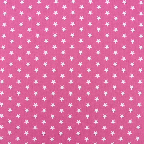 Lili Small Star weiß auf pink, Webstoff, waschbar bei 60°