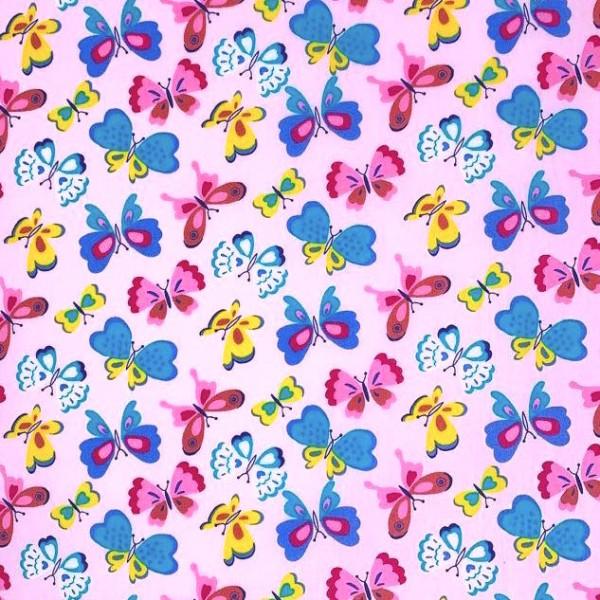 Bunte Schmetterlingen, rosa, Baumwollstoff