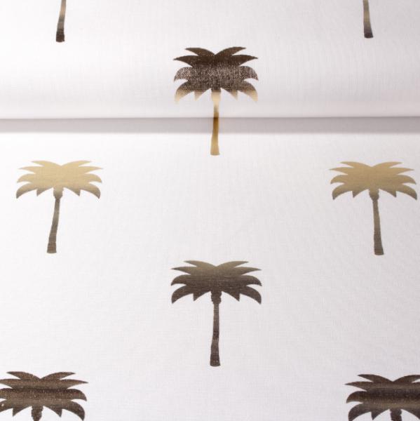 Dekostoff Metallic Palms weiß