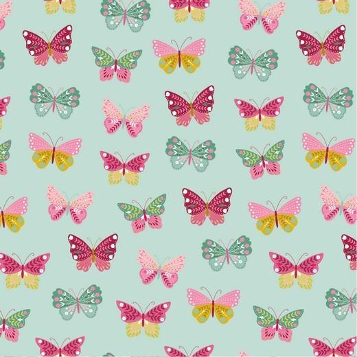 Happy Garden Butterfly mint, Baumwoll-Popeline bei 60° waschbar