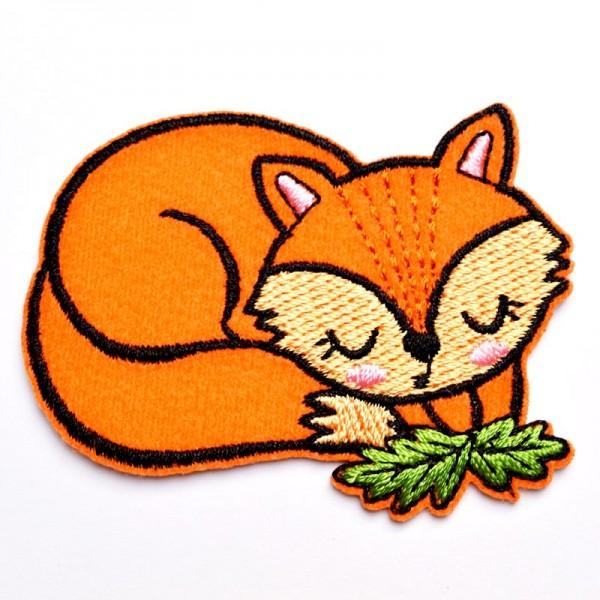 Applikation schlafender Fuchs, orange