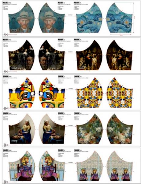 Maskenstoff Digitaldruck Van Gogh&Co für 10 Masken, Paneel, Baumwollstoff