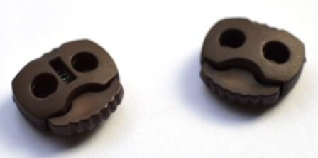 Kordelstopper, 2 löchrig, dunkelbraun