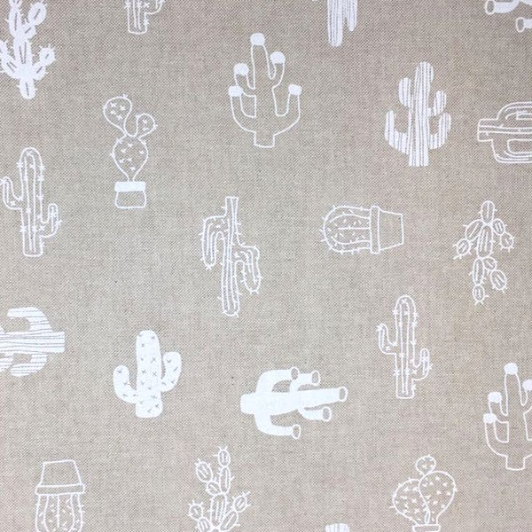 Dekostoff Kaktus weiß auf leinen