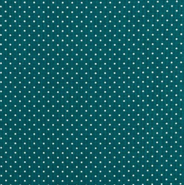 Lili Punkte klein, dunkles petrol, Webstoff, waschbar bei 60°