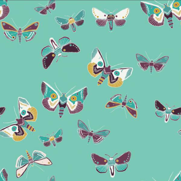 Art Gallery, Odysee Drewdrop, Schmetterlinge türkis, Baumwollstoff