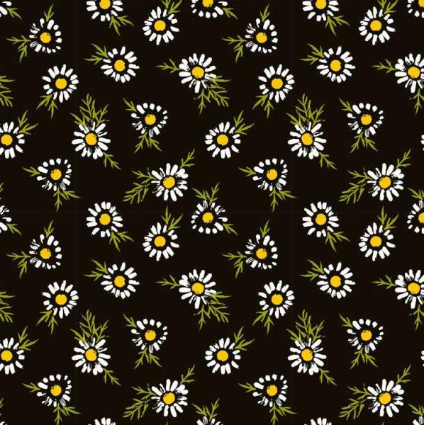 Gänseblümchen auf schwarz Baumwoll-Popeline