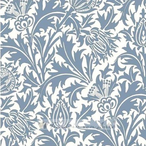 Fräulein von Julie, Zarte Distel blau auf offwhite, Jersey