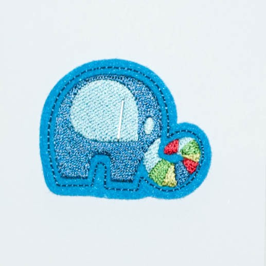 Applikation Elefant, blau mit blau