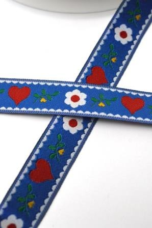 Heidi Blumen und Herzen, blau, Webband
