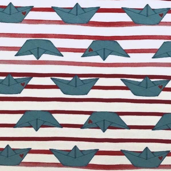 Papierschiffe rot-weiß gestreift, Jersey