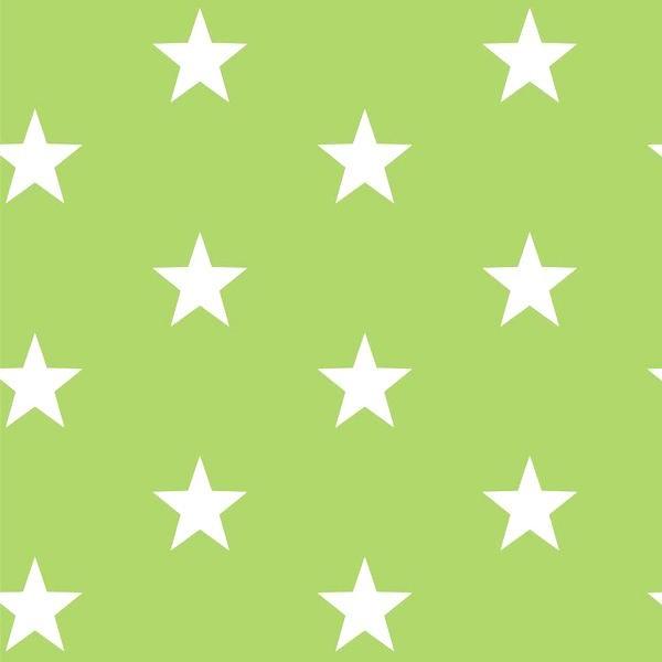 Lili Big Star weiß auf hellgrün, Webstoff, waschbar bei 60°