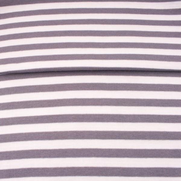 Ringelbündchen medium, grau-weiß