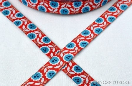 Lovely Flowers, rot-blau, Webband
