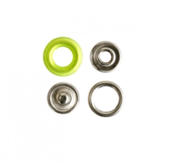 Druckknopf, Ring hellgrün, 12 mm