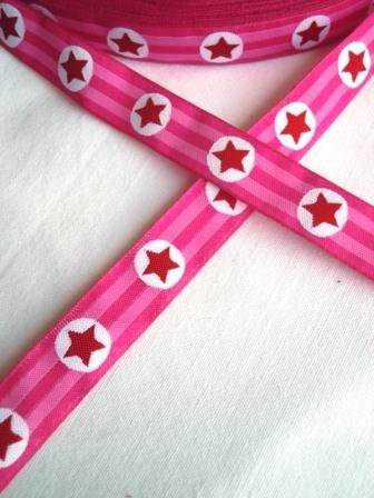 Sterne, pinkgestreift, Webband