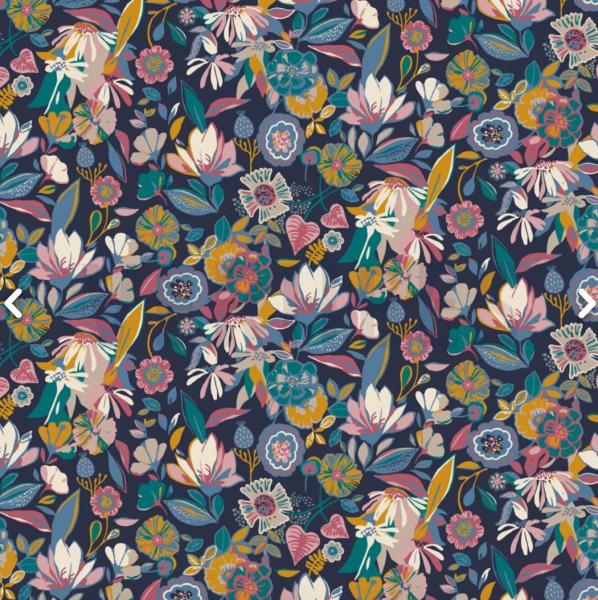 Modal-Jersey Bunte Blüten auf dunkelblau
