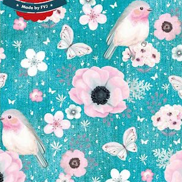 Fräulein von Julie, Flowers&Birds türkis-meliert, Jersey