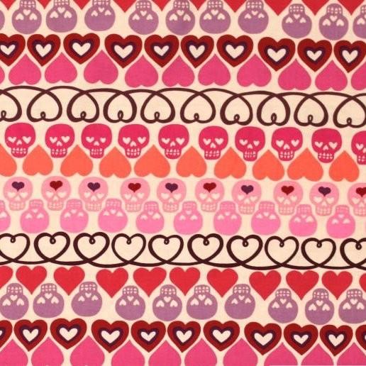 A. Henry, Hearts & Bones, pink, Webstoff, *Letztes Stück ca. 120 cm*