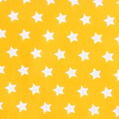 Stenzo kleine Sterne, weiß auf gelb, Popeline