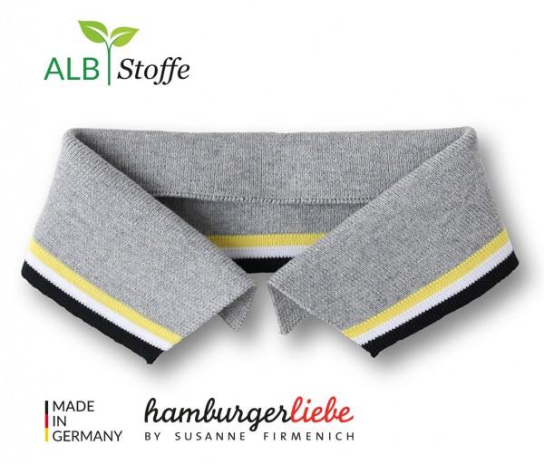 Polo Me Stripe, Polokragen, grau-gelb, Größe L
