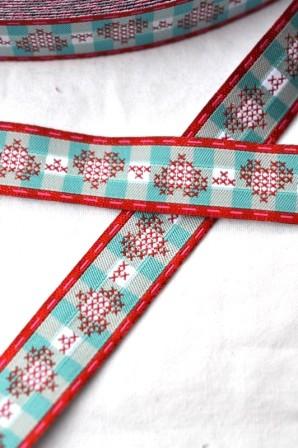 cross-stitched hearts, aqua, Webband