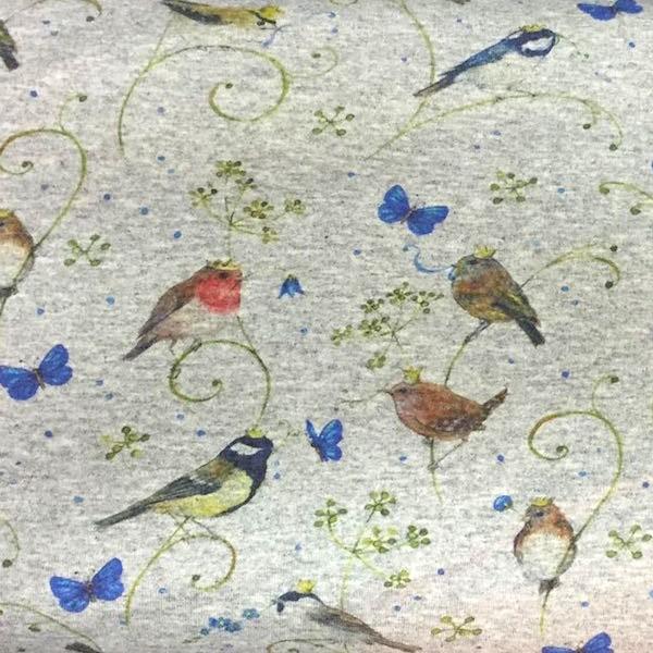 Kronenvögel auf hellgrau-meliert, Sweat, *Letztes Stück ca. 120 cm*