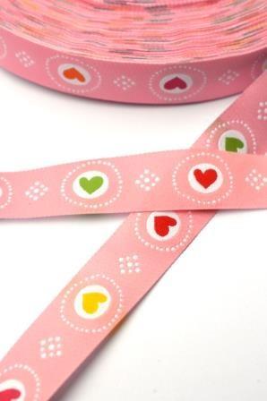 bunte Herzen, rosa, Webband