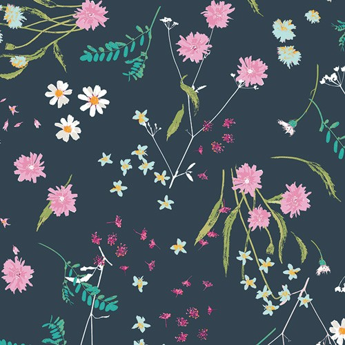 Art Gallery Lavish, Blossom Swale Depth dunkelblau, Baumwollstoff