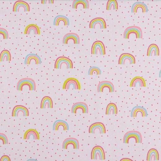 Glitter Rainbow rosa, Baumwollstoff, waschbar bei 60°