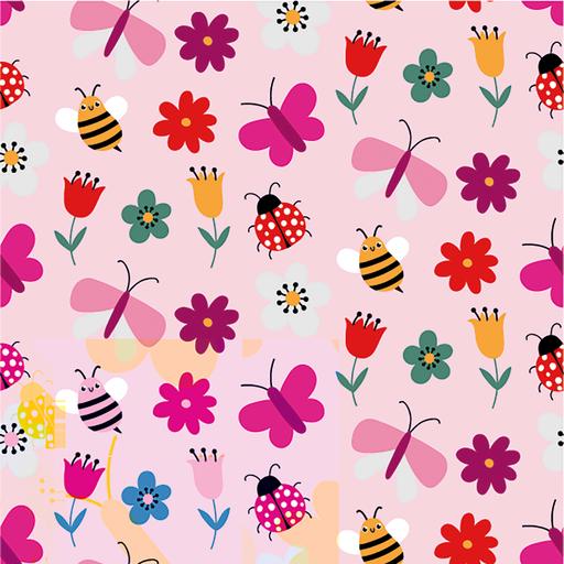 Bunte Schmetterlinge und Blümchen in rosa, Jersey