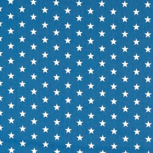 Lili Small Star weiß auf dunklem royalblau, Webstoff, waschbar bei 60°