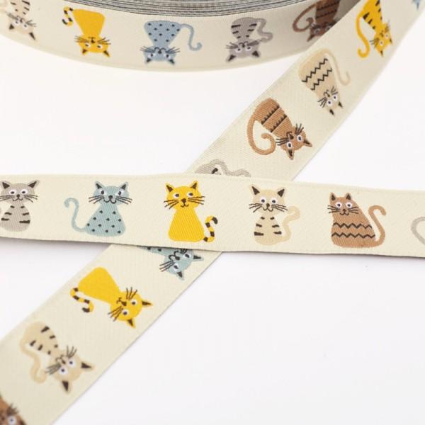 Katzen, beige, Webband