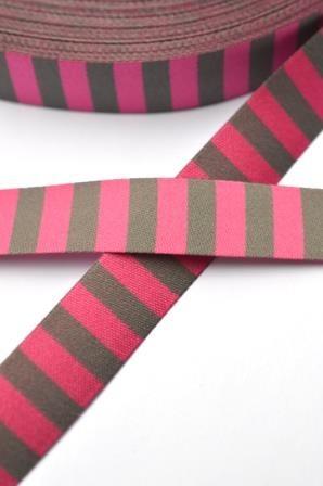Ringelband, pink-grau, Webband beidseitig
