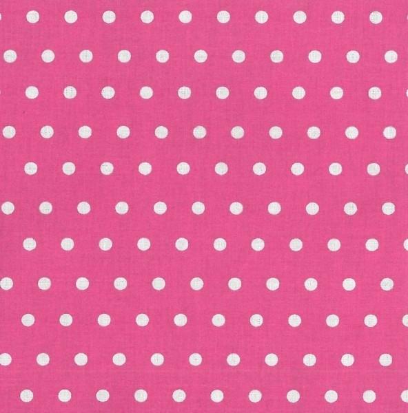 Alex, beschichtete Baumwolle, Punkte weiß auf pink