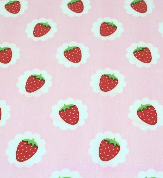 Laminat/Wachstuch, Erdbeeren auf rosa