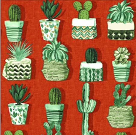 Kaktus auf rostrot, Dekostoff