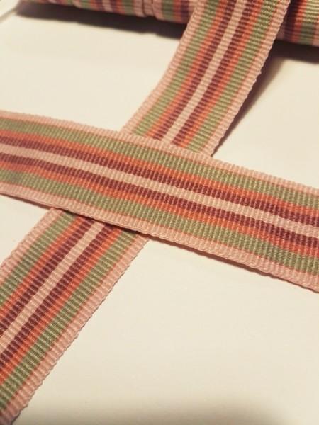 Streifen, rosa-grün, Ripsband