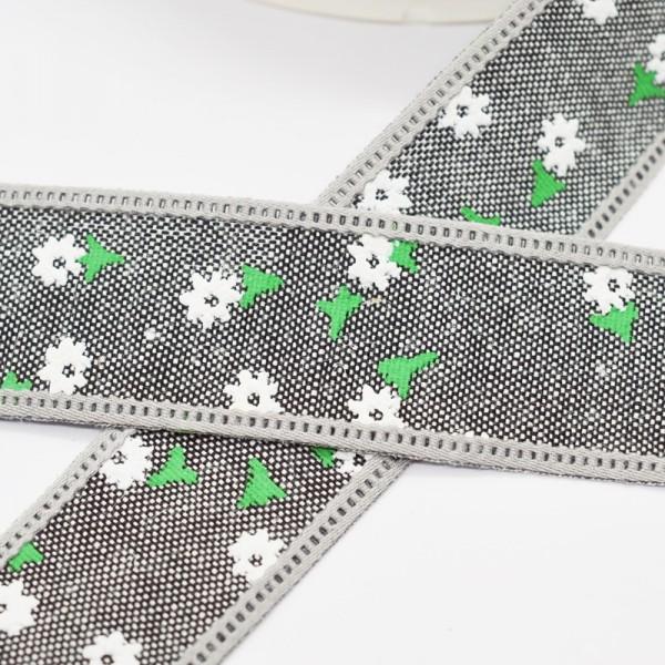 Blumen und Blätter, schwarz, Baumwollband