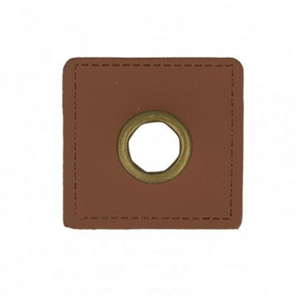 Kunstleder Ösenpatch, Quadrat 10 mm Ø, mittelbraun/gold