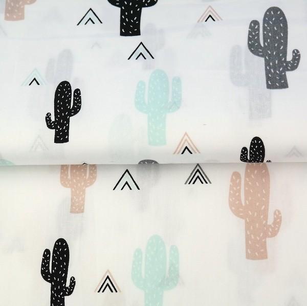 Stenzo Kaktus mint auf weiß, Popeline