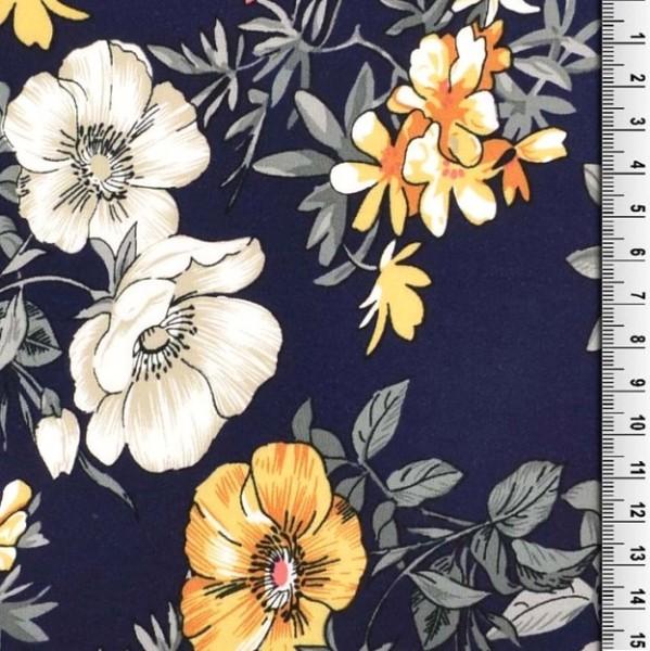 Viskosewebstoff Große Blumen, dunkelblau