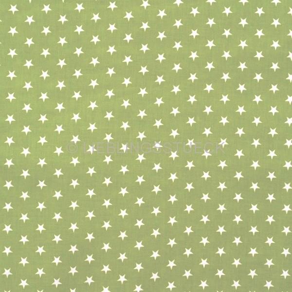 Lili Small Star weiß auf waldgrün, Webstoff